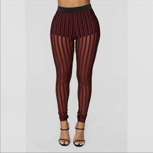 NEW Fashion Nova Striped Mesh Leggings S
